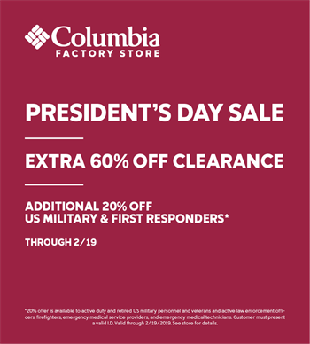 9c6cda480185 Celebrate President s Day with Columbia Sportswear - Tanger Outlets ...